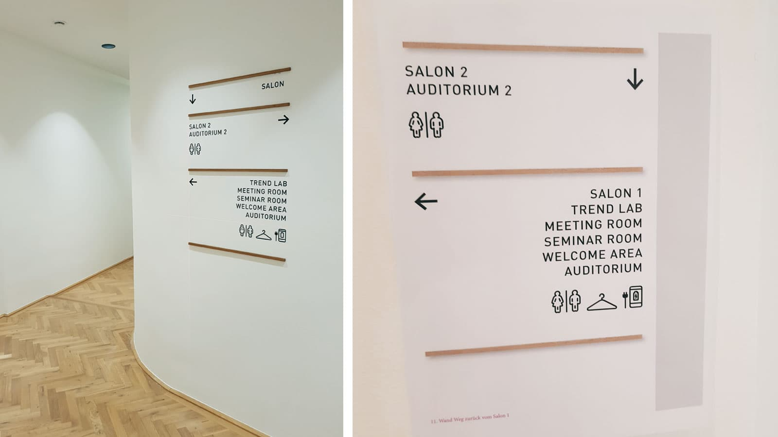 Glatzl Objektbeschriftung, Leitsystem, Holz, Beklebung, Schwarzkopf