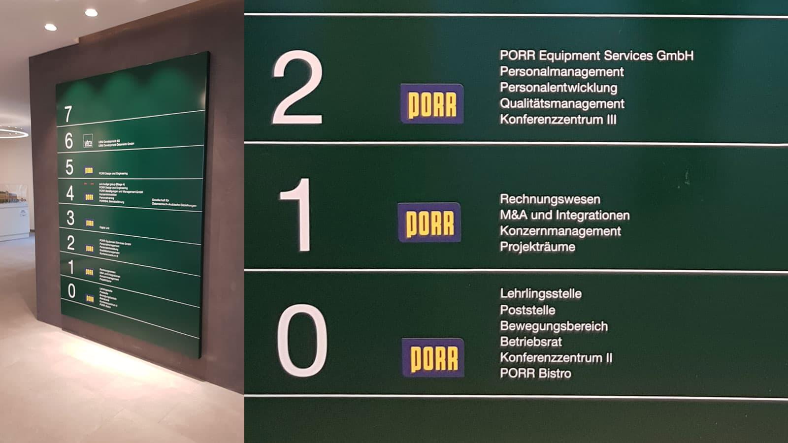 Porr Objektbeschriftung Leitsystem